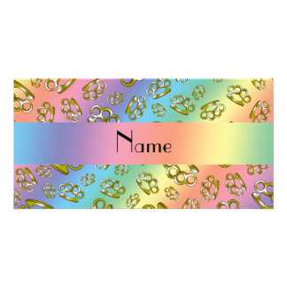 Personalized name rainbow brass knuckles photo card