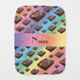 Personalized name rainbow brownies burp cloths