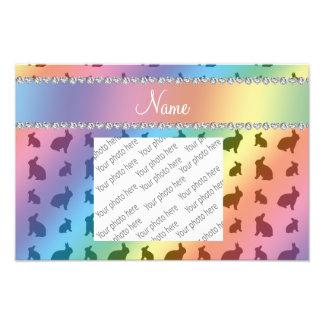 Personalized name rainbow bunnies photo print