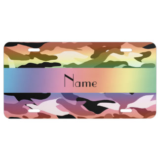 Personalized name rainbow camouflage license plate
