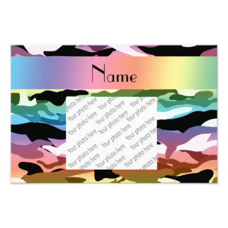 Personalized name rainbow camouflage photo print