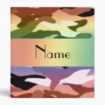 Personalized name rainbow camouflage vinyl binders