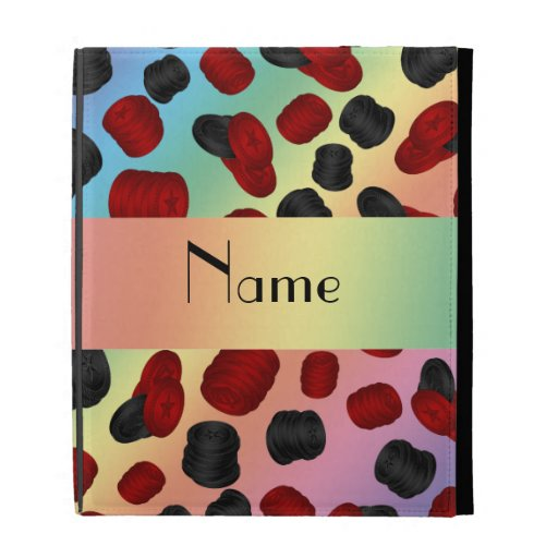 Personalized name rainbow checkers game iPad folio cases