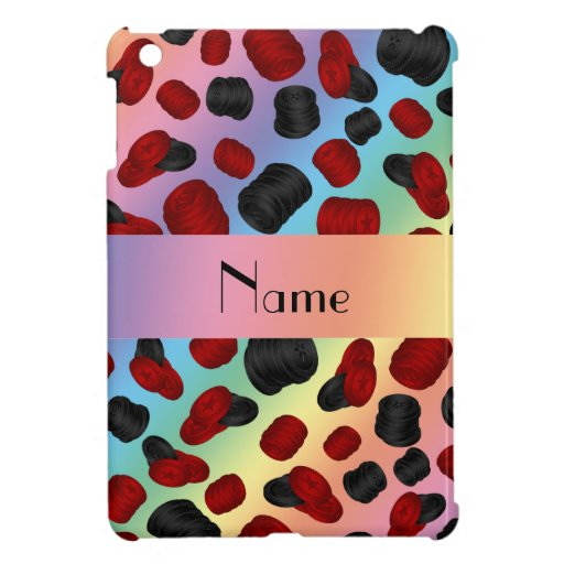 Personalized name rainbow checkers game iPad mini case
