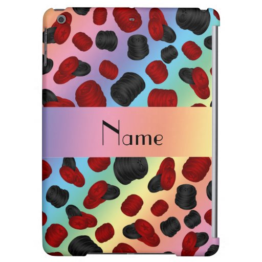 Personalized name rainbow checkers game iPad air cases