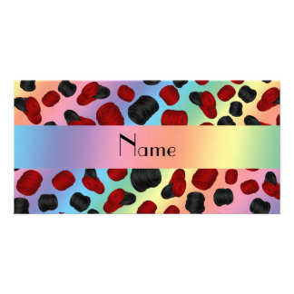 Personalized name rainbow checkers game photo card