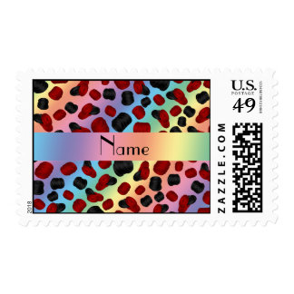 Personalized name rainbow checkers game postage stamps