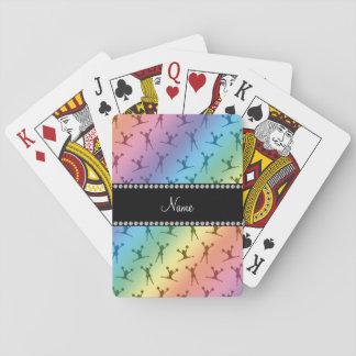 Personalized name rainbow cheerleader pattern card deck