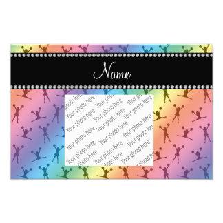 Personalized name rainbow cheerleader pattern photographic print