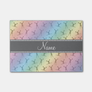 Personalized name rainbow cheerleader pattern post-it notes