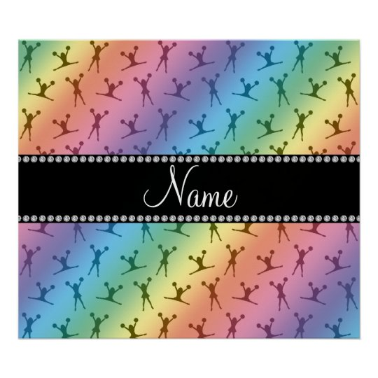 Personalized name rainbow cheerleader pattern poster
