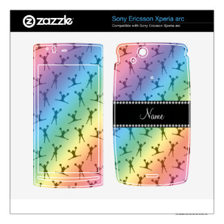 Personalized name rainbow cheerleader pattern xperia arc skin