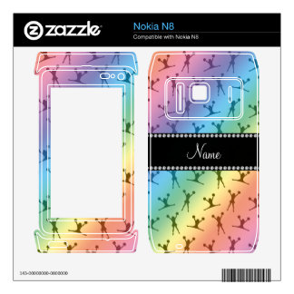 Personalized name rainbow cheerleader pattern decal for the nokia n8