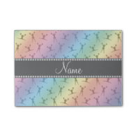Personalized name rainbow cheerleader pattern post-it® notes