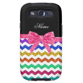 Personalized name rainbow chevrons pink bow galaxy SIII cover