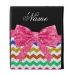 Personalized name rainbow chevrons pink bow iPad folio covers