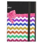 Personalized name rainbow chevrons pink bow iPad folio cases