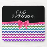 Personalized name rainbow chevrons pink bow mouse pad