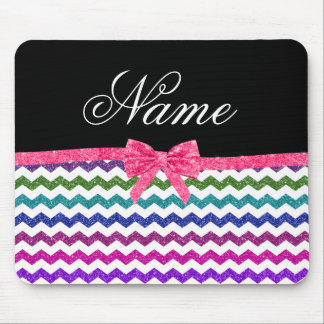 Personalized name rainbow chevrons pink bow mouse pads