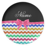 Personalized name rainbow chevrons pink bow plate