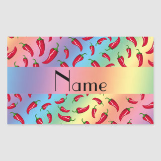 Personalized name rainbow chili pepper rectangle sticker