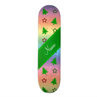 Personalized name rainbow christmas stars skateboard deck