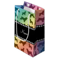 Personalized name rainbow cocker spaniel small gift bag