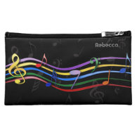 Personalized Name Rainbow Colored Music Notes Cosmetics Bags