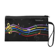 Personalized Name Rainbow Colored Music Notes Wristlet Purse
