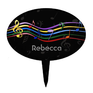 Personalized Name Rainbow Colored Music Notes Cake Picks