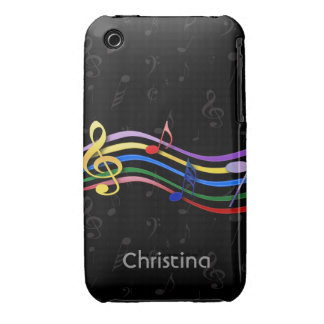 Personalized Name Rainbow Colored Music Notes iPhone 3 Case-Mate Cases