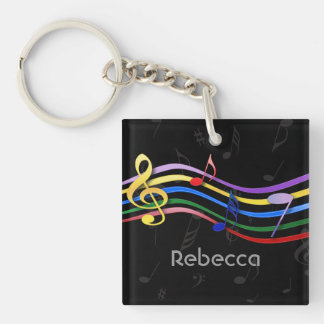 Personalized Name Rainbow Colored Music Notes Acrylic Keychain