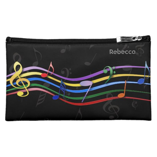 Personalized Name Rainbow Colored Music Notes Makeup Bag