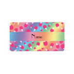 Personalized name rainbow cotton candy address label
