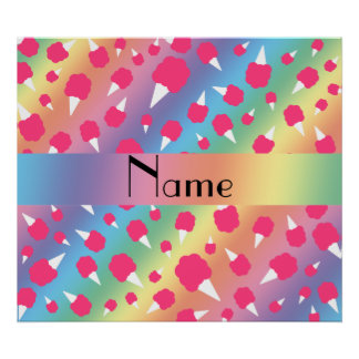 Personalized name rainbow cotton candy poster