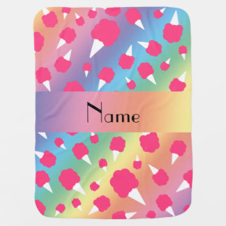 Personalized name rainbow cotton candy baby blanket