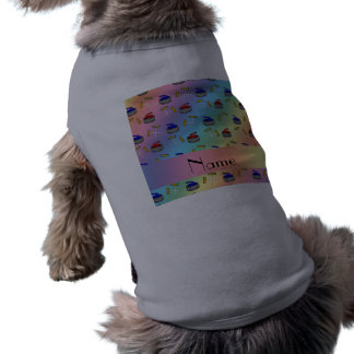 Personalized name rainbow curling pattern doggie shirt