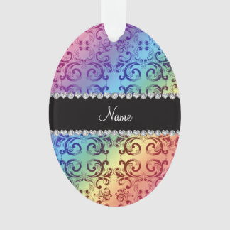 Personalized name rainbow damask swirls