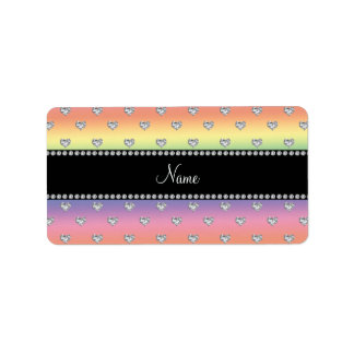 Personalized name rainbow diamond hearts personalized address labels