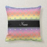 Personalized name rainbow diamond hearts throw pillows