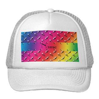 Personalized name rainbow diamond plate steel hat