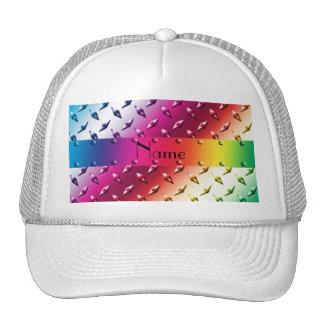 Personalized name rainbow diamond plate steel trucker hat