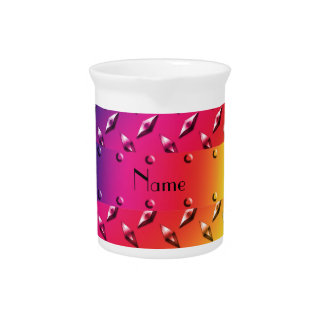 Personalized name rainbow diamond plate steel drink pitchers