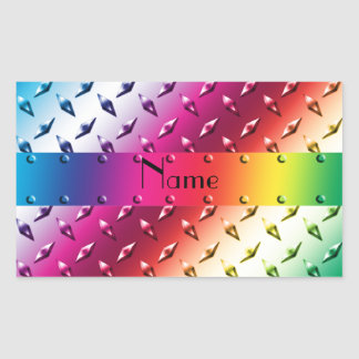 Personalized name rainbow diamond plate steel rectangular sticker