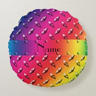 Personalized name rainbow diamond steel plate round pillow