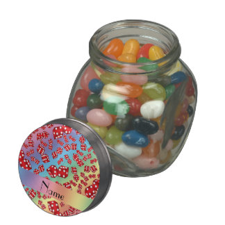 Personalized name rainbow dice pattern jelly belly candy jars