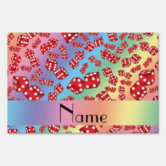 Personalized name rainbow dice pattern signs