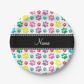 Personalized name rainbow dog paws paper plate