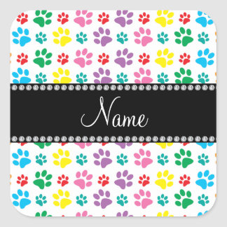 Personalized name rainbow dog paws square sticker