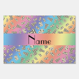 Personalized name rainbow dominos lawn signs